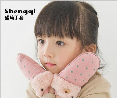 儿童冬季加绒包指手套送口罩