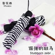 折叠斑马纹黑胶遮阳伞