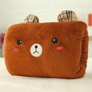 暖手宝抱枕插手靠垫毛绒趴趴枕