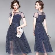 韩版显瘦条纹网纱拼接连衣裙