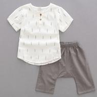 男童棉麻短袖衬衫+短裤套装