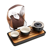 香自吟 一壶两杯茶具套装+布袋+茶盘