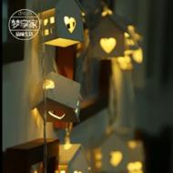 木制小房子led灯串