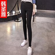 韩版黑色紧身小脚铅笔裤