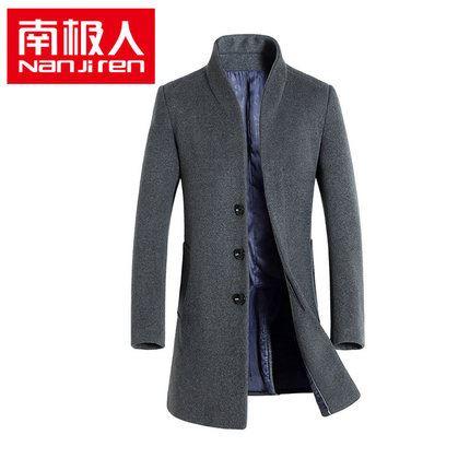 南极人冬季新款中长款羊毛呢子大衣