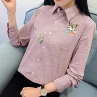 韩版长袖条纹刺绣衬衫女