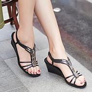 百搭舒适高跟罗马露趾水钻凉鞋