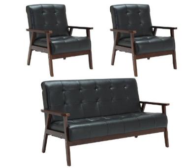 择木宜居 时尚简约实木布艺沙发组合 三人位 单人位*2