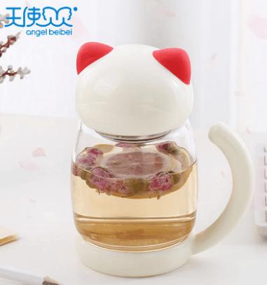 天使贝贝创意猫咪玻璃杯子300ml