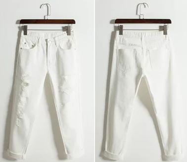 白色破洞牛仔裤女