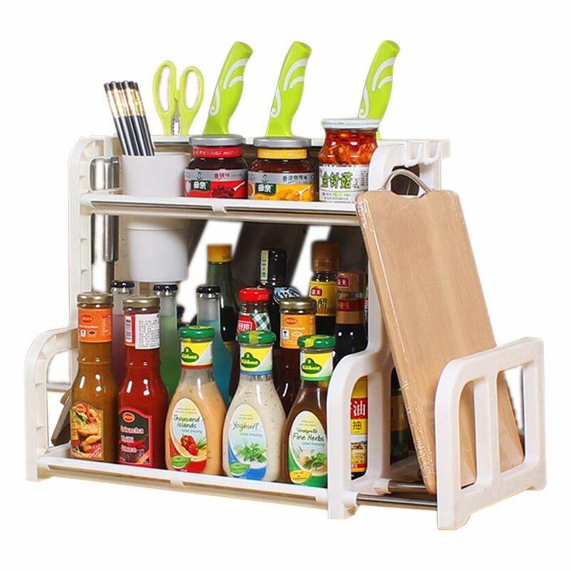 创健厨房多功能双层调料架收纳刀架