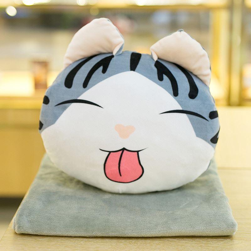 卡通小奇猫暖手抱枕被子三合一