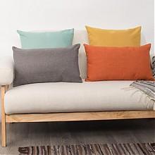 RCK 亚麻风格纯色沙发抱枕