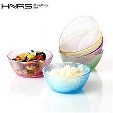 韩纳斯彩色透明玻璃碗 6个