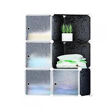 蓝鹦塑料布艺组合简易衣柜