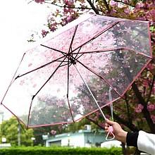 爱伞雨家创意透明三折雨伞