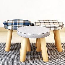 亿家达实木布艺小蘑菇凳