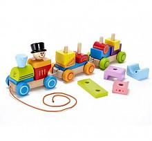 Hape拖拉玩具几何积木小火车