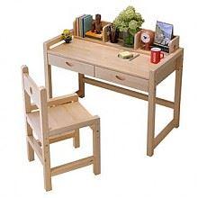 喜人缘 松木可升降儿童学习桌椅套装